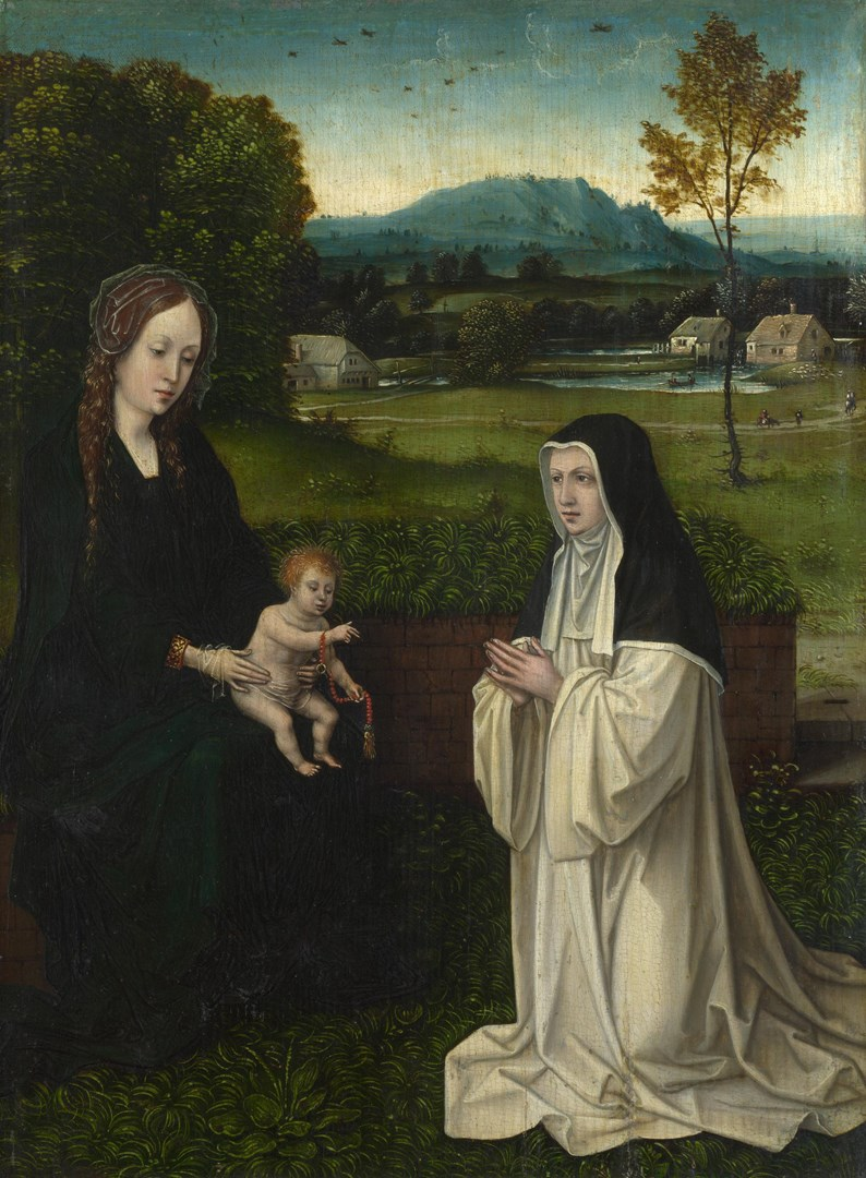 The Virgin and Child with an Augustinian Canoness by Follower of Joos van Cleve