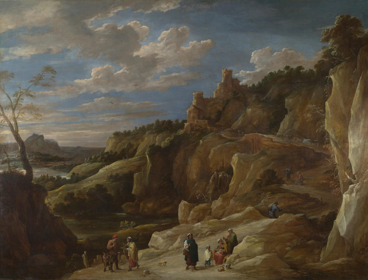A Gipsy Fortune Teller in a Hilly Landscape by Probably by David Teniers the Younger