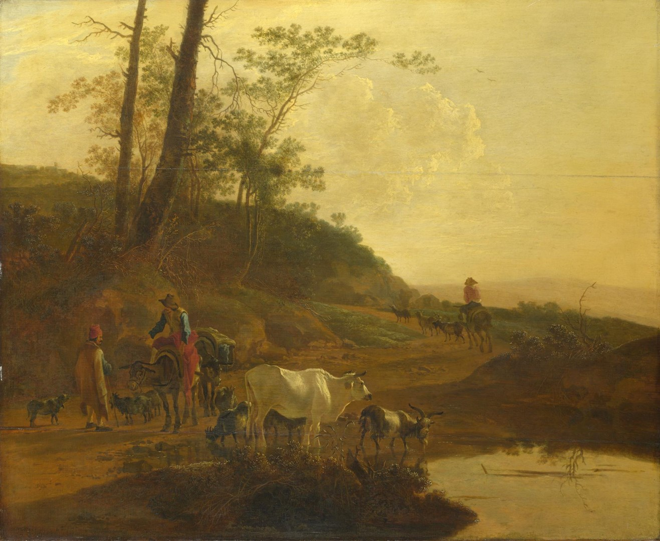 Men with an Ox and Cattle by a Pool by Jan Both