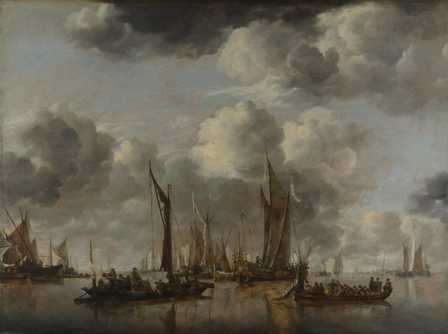 A Shipping Scene with a Dutch Yacht firing a Salute by Jan van de Cappelle