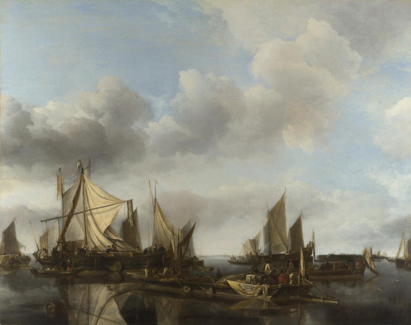 A River Scene with a Large Ferry by Jan van de Cappelle