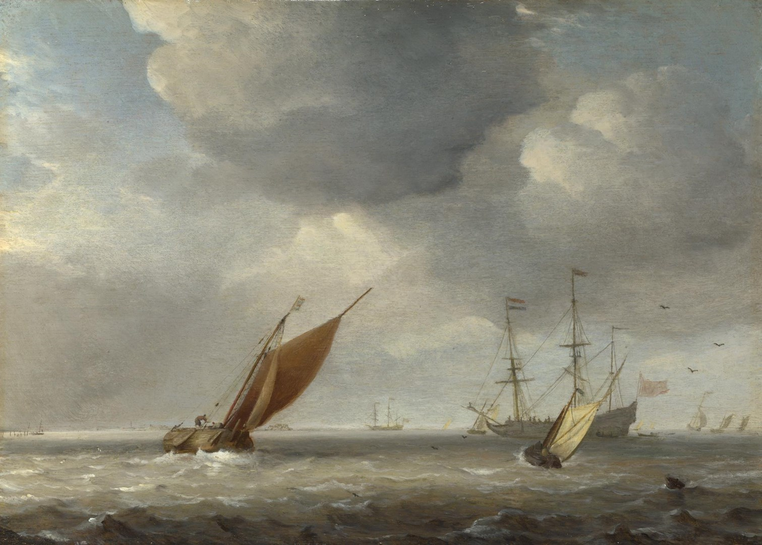 Small Dutch Vessels in a Breeze by Studio of Willem van de Velde