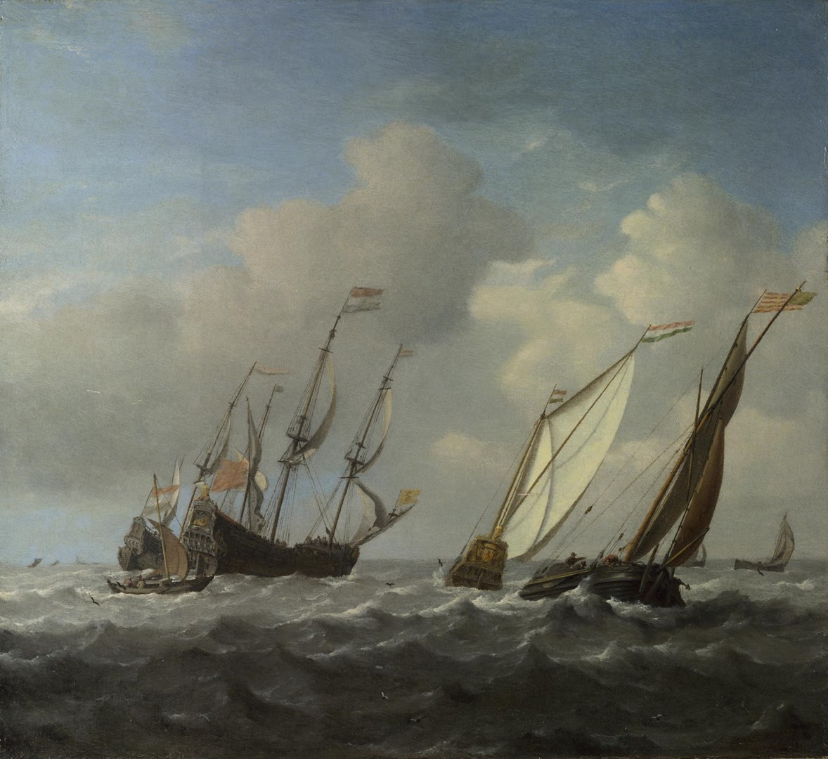 A Dutch Ship, a Yacht and Smaller Vessels in a Breeze by Willem van de Velde
