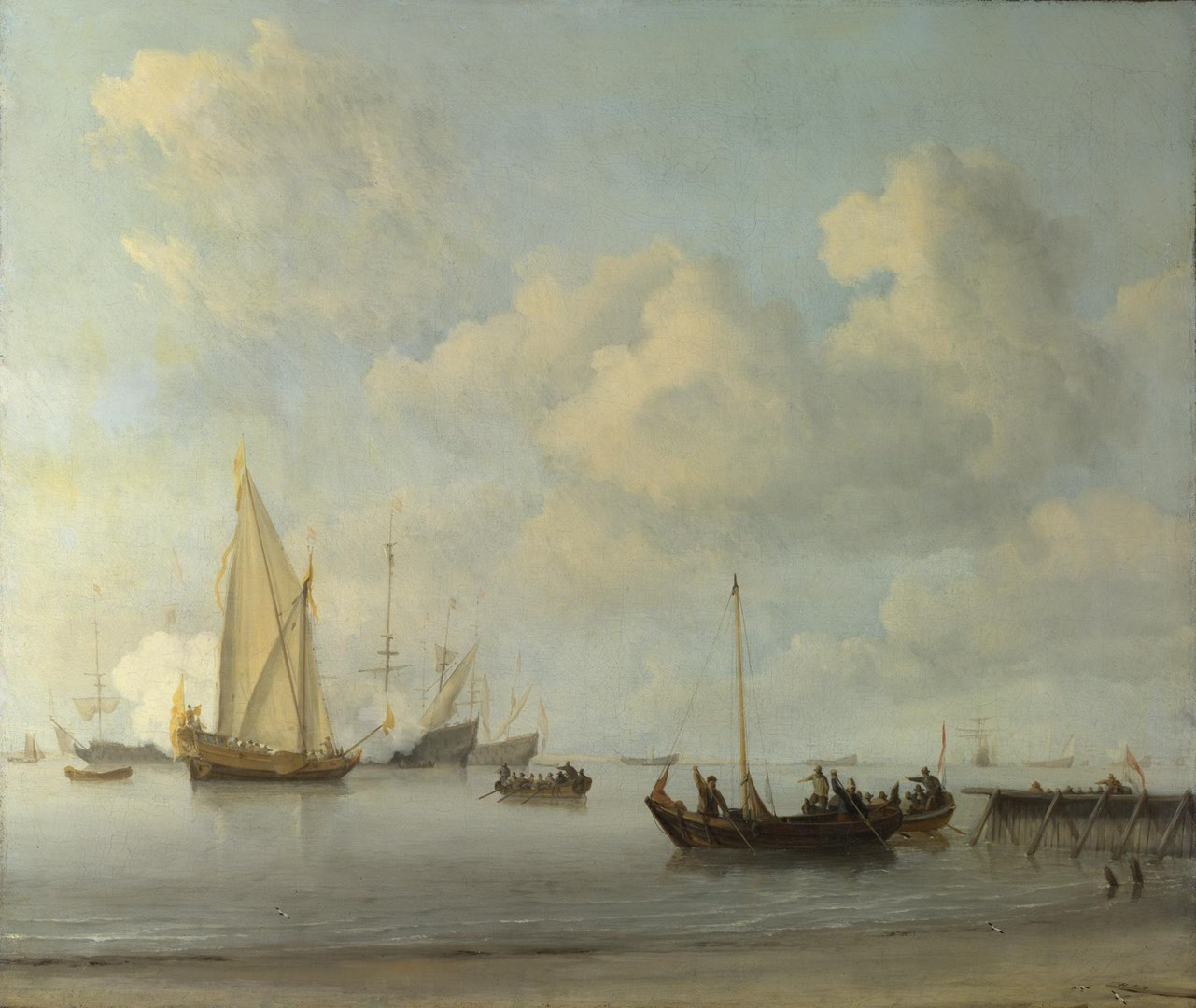 Boats pulling out to a Yacht in a Calm by Willem van de Velde