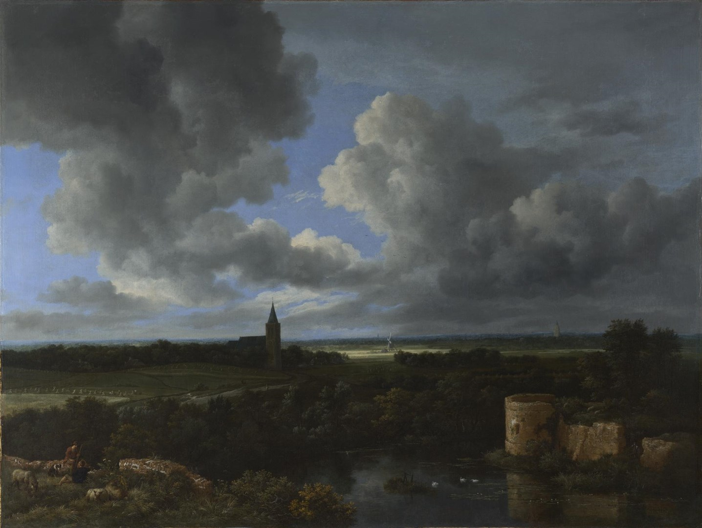 A Landscape with a Ruined Castle and a Church by Jacob van Ruisdael
