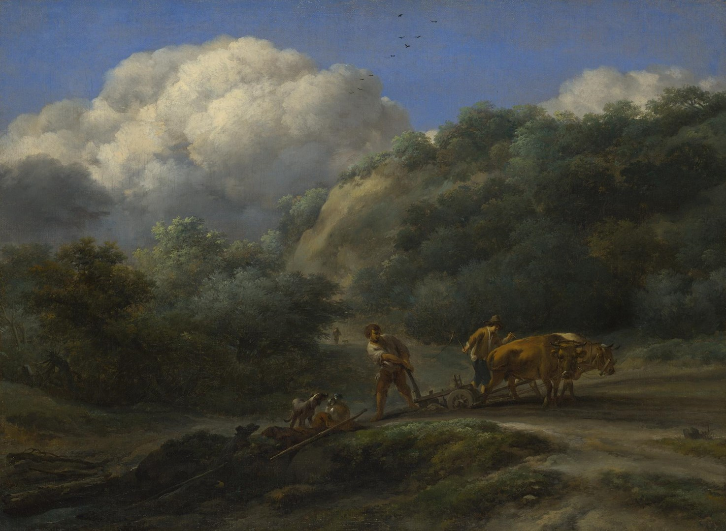 A Man and a Youth ploughing with Oxen by Nicolaes Berchem