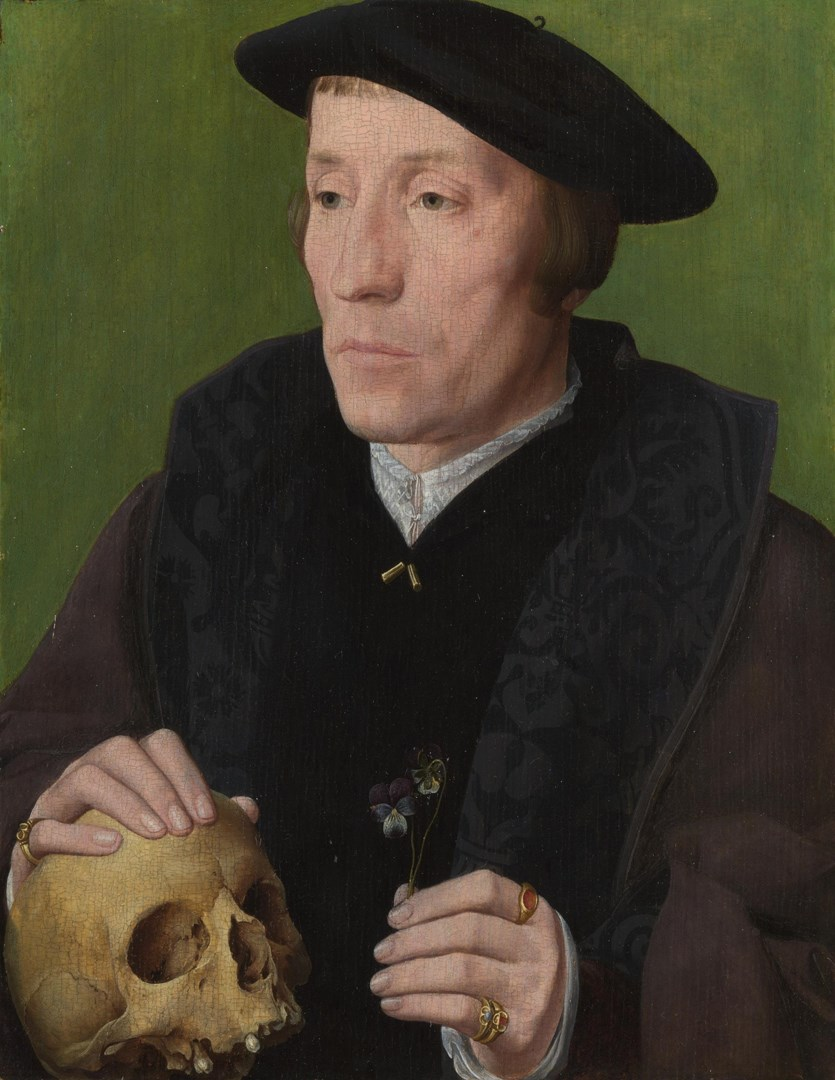 A Man with Pansies and a Skull by Follower of Jan van Scorel