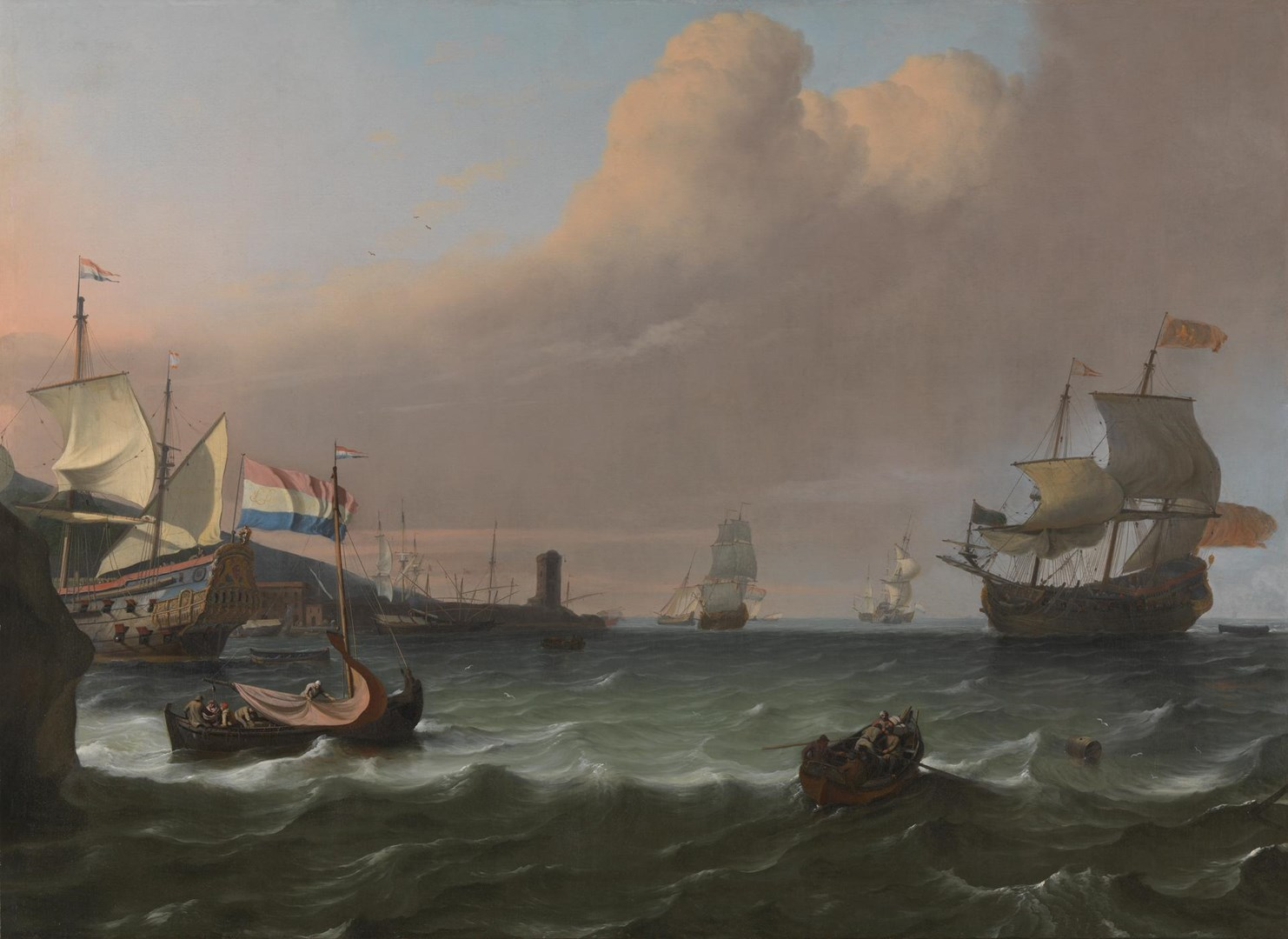 Dutch Men-of-war entering a Mediterranean Port by Ludolf Bakhuizen