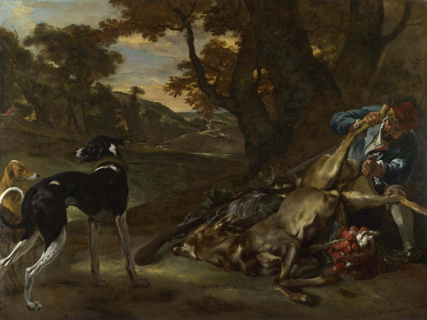 A Huntsman cutting up a Dead Deer, with Two Deerhounds by Jan Baptist Weenix