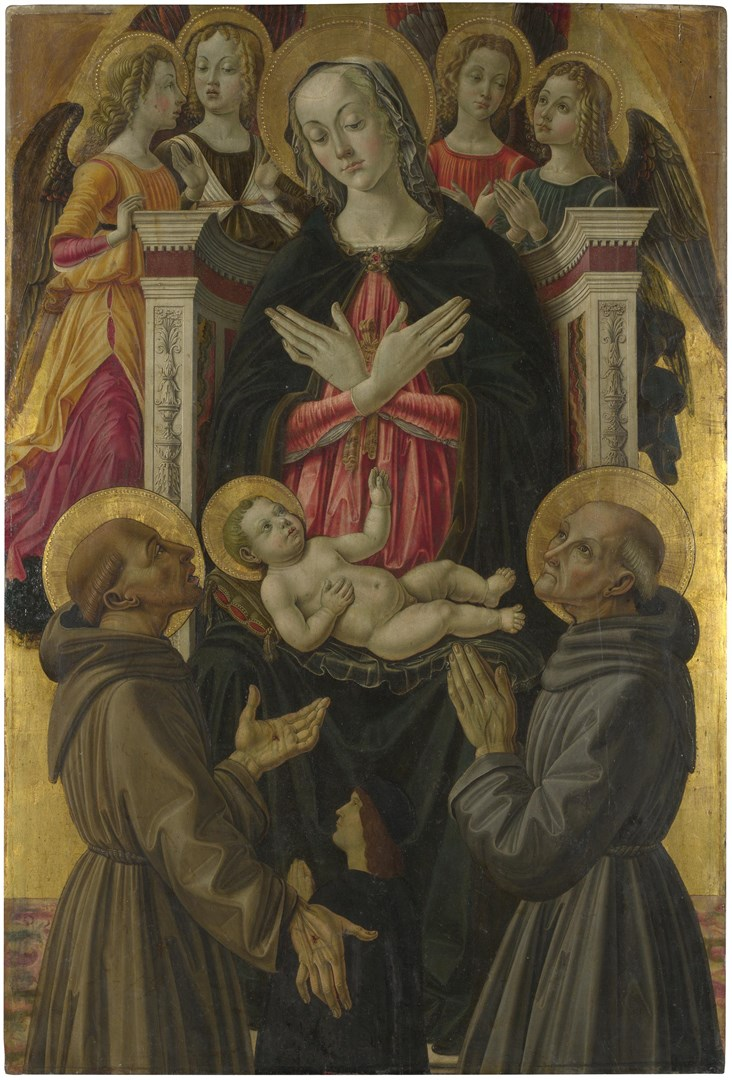 The Virgin and Child with Saints, Angels and a Donor by Probably by Bartolomeo Caporali