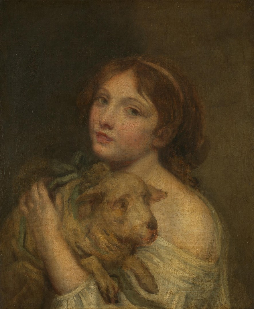 A Girl with a Lamb by Jean-Baptiste Greuze