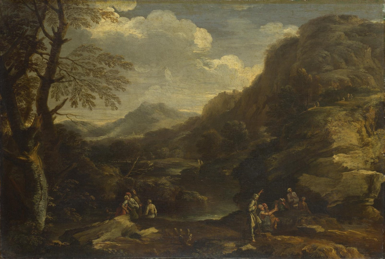 Mountainous Landscape with Figures by Style of Salvator Rosa