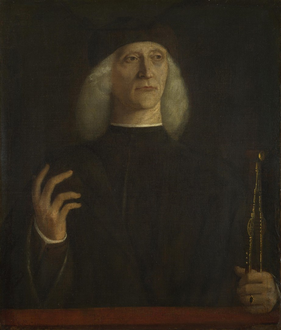 A Man with a Pair of Dividers (?) by Probably by Gentile Bellini