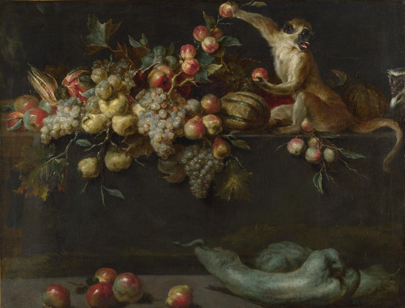 Still Life of Fruit and Vegetables with Two Monkeys by Jan Roos