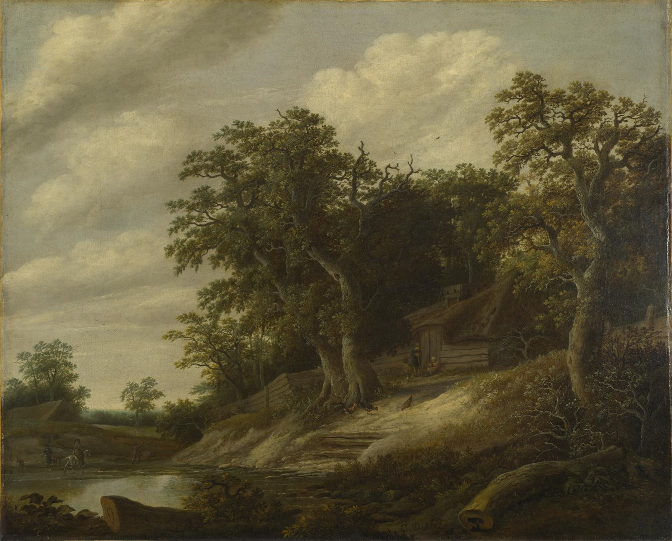 A Cottage among Trees on the Bank of a Stream by Cornelis Decker
