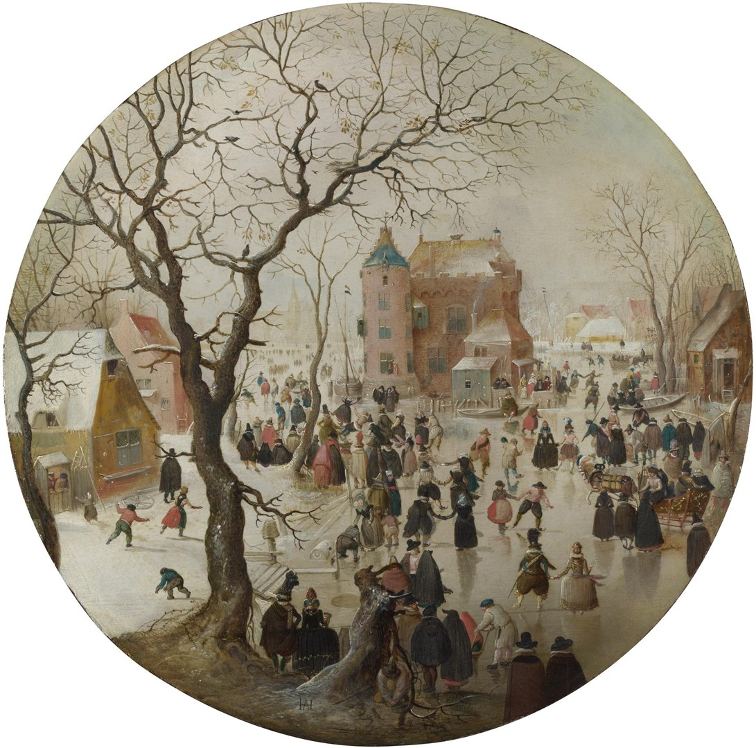 A Winter Scene with Skaters near a Castle by Hendrick Avercamp