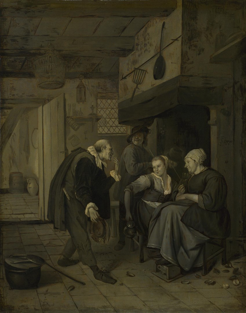 An Itinerant Musician saluting Two Women in a Kitchen by After Jan Steen