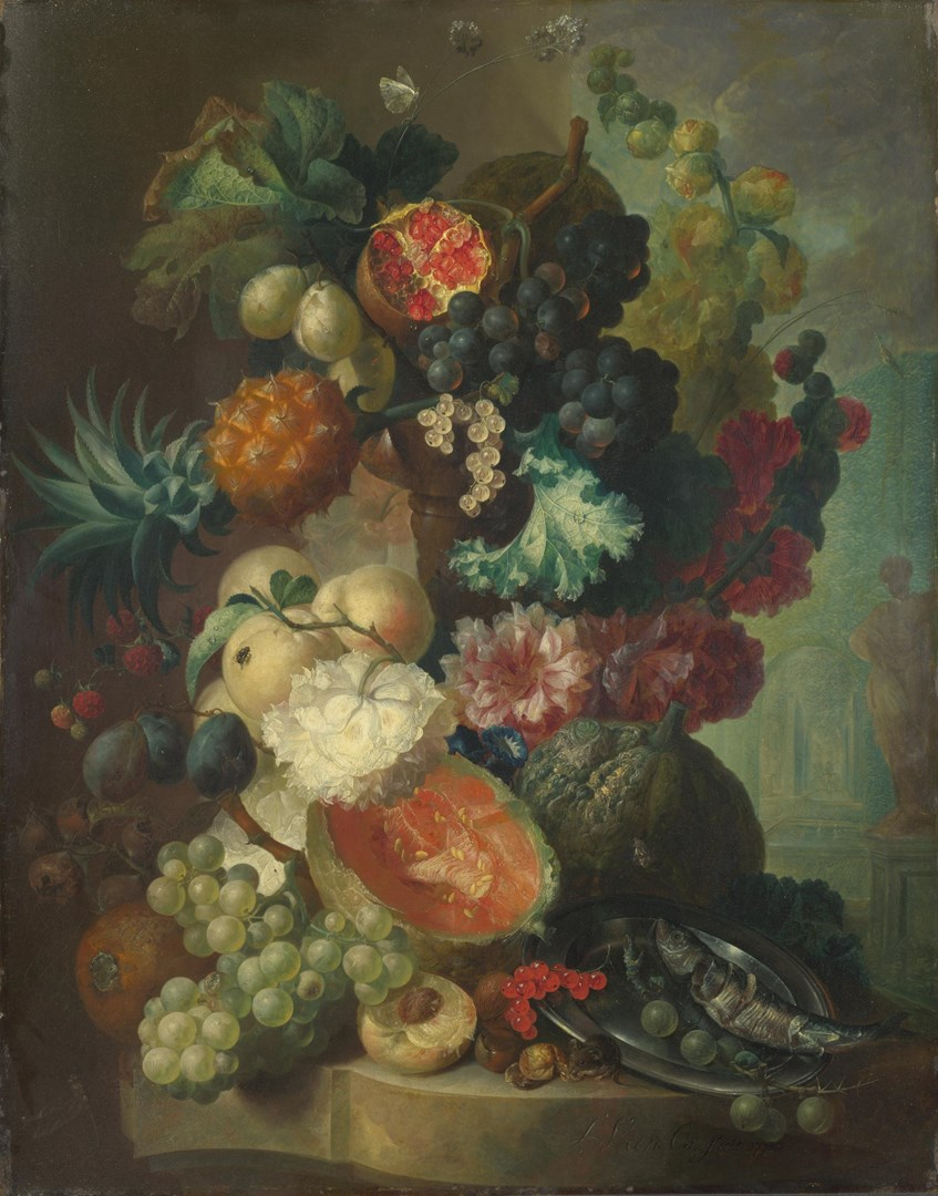 Fruit, Flowers and a Fish by Jan van Os