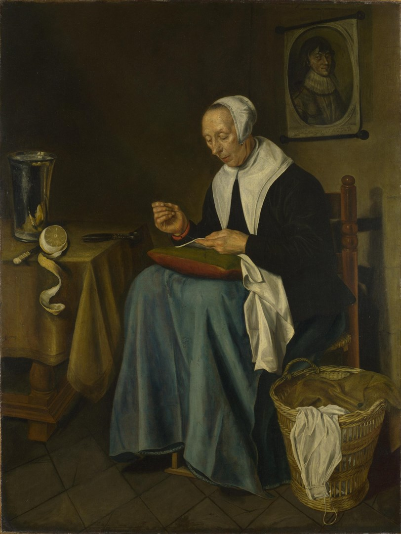 An Old Woman seated sewing by Johannes van der Aack