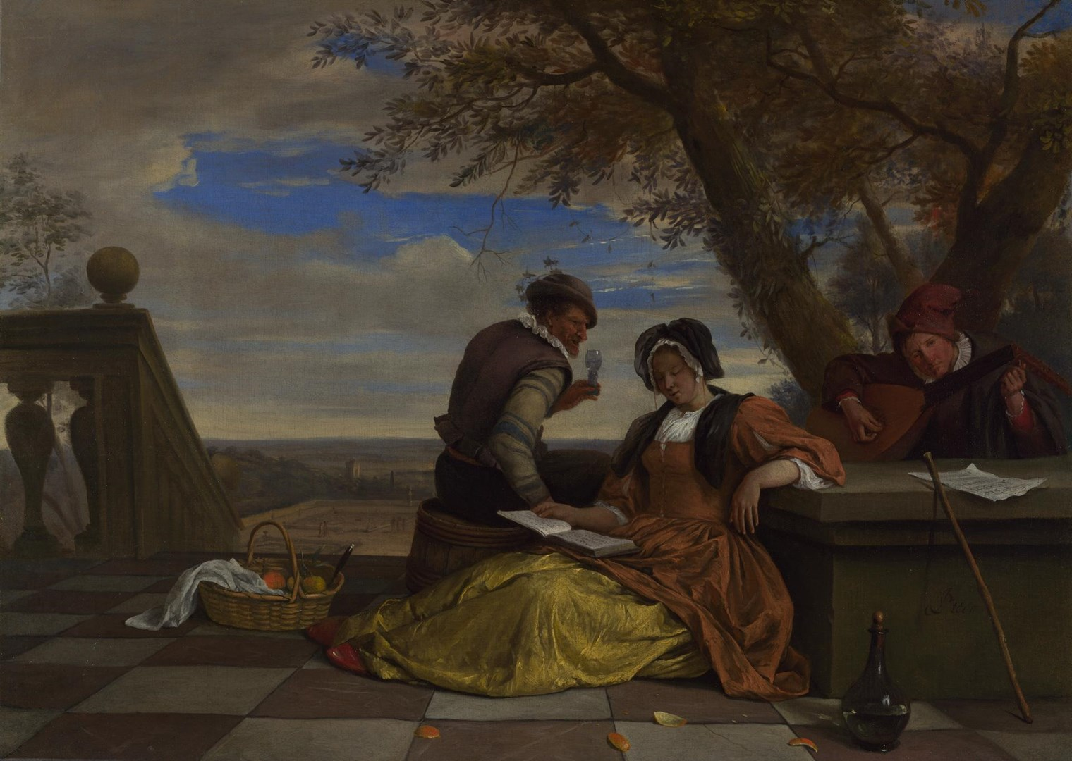 Two Men and a Young Woman making Music on a Terrace by Jan Steen