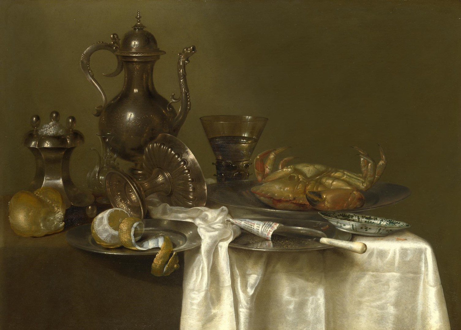 Still Life: Pewter and Silver Vessels and a Crab by Willem Claesz. Heda