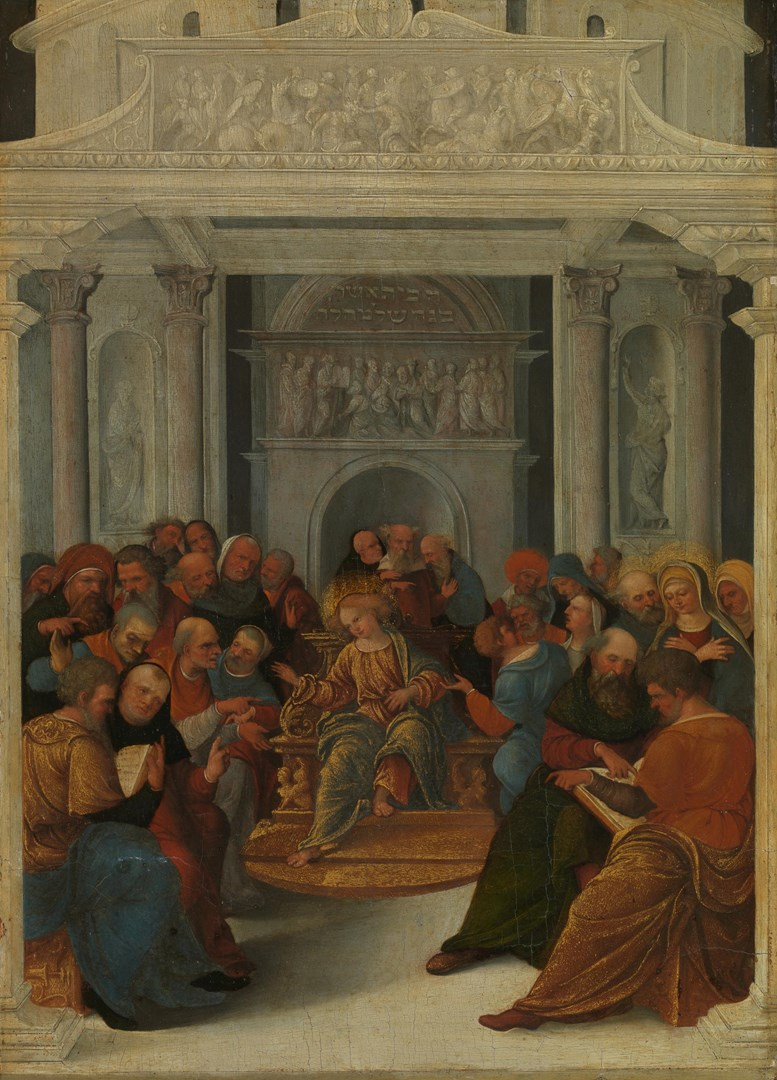 Christ disputing with the Doctors in the Temple by Ludovico Mazzolino