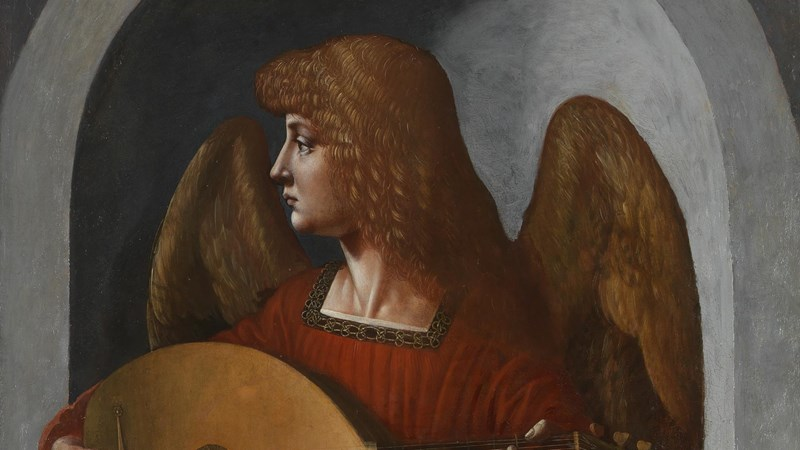 Giovanni Ambrogio de Predis, 'An Angel in Red with a Lute', about 1495-9