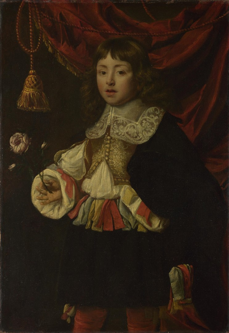 Portrait of a Boy holding a Rose by Flemish
