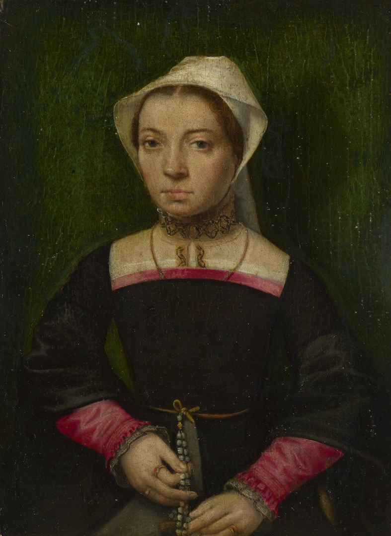 A Woman with Prayer Beads by Netherlandish