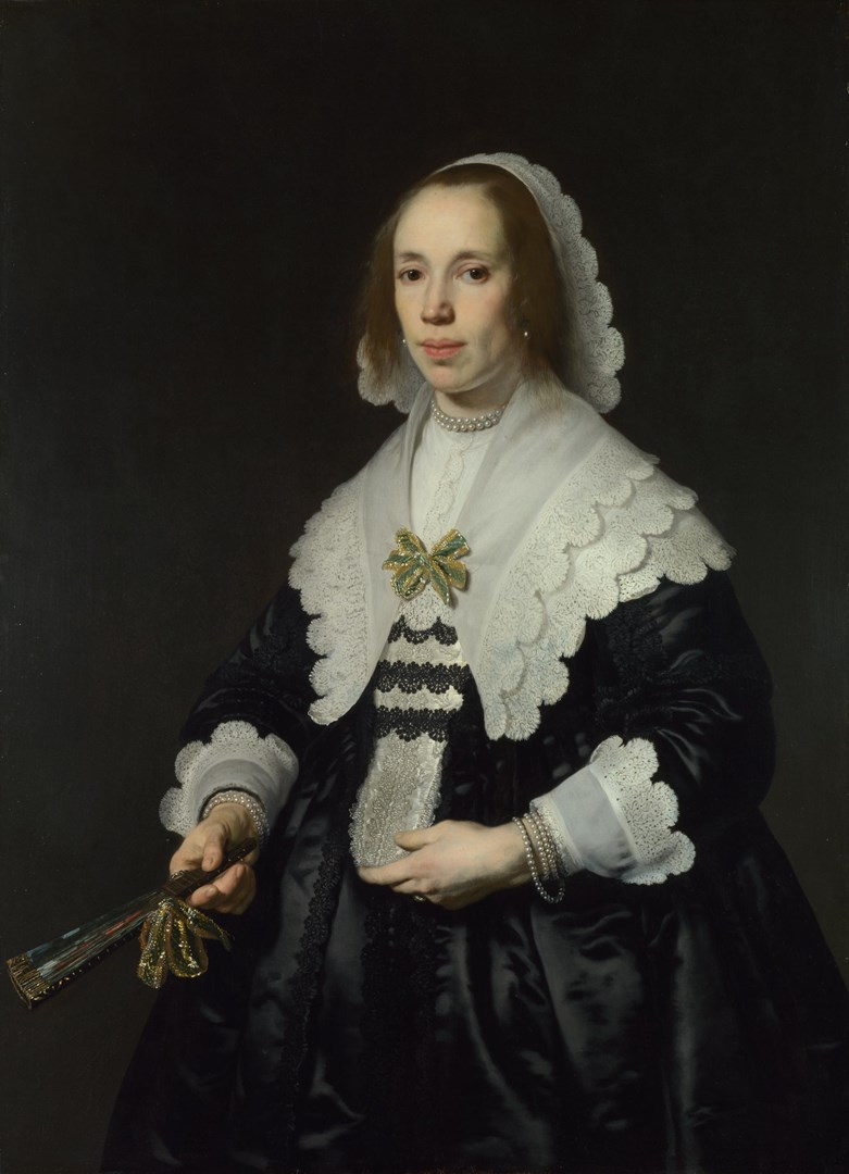 Portrait of a Lady in Black Satin with a Fan by Bartholomeus van der Helst