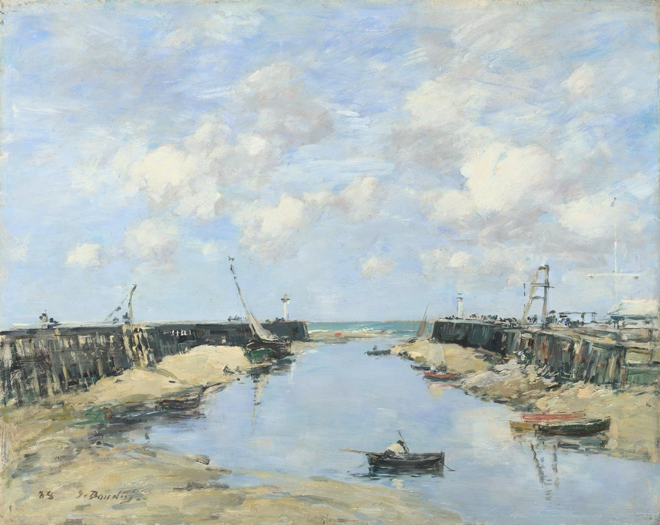The Entrance to Trouville Harbour by Eugène Boudin
