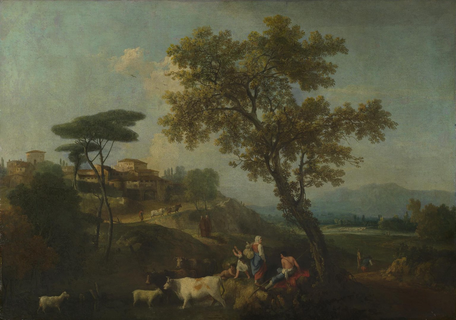 Landscape with Cattle and Figures by Francesco Zuccarelli
