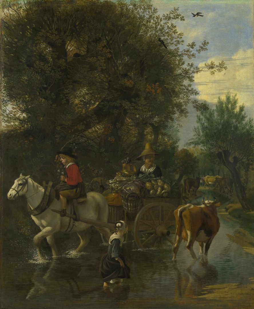 A Cowherd passing a Horse and Cart in a Stream by Jan Siberechts
