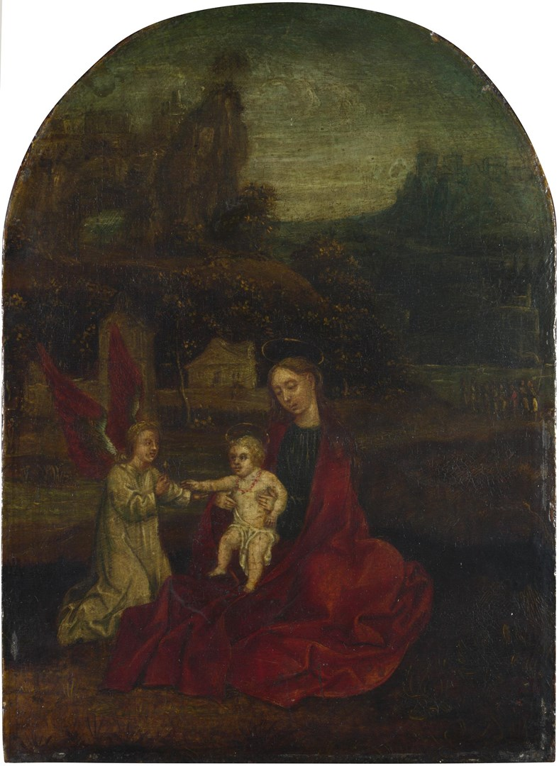 The Virgin and Child with an Angel in a Landscape by Late Imitator of Rogier van der Weyden