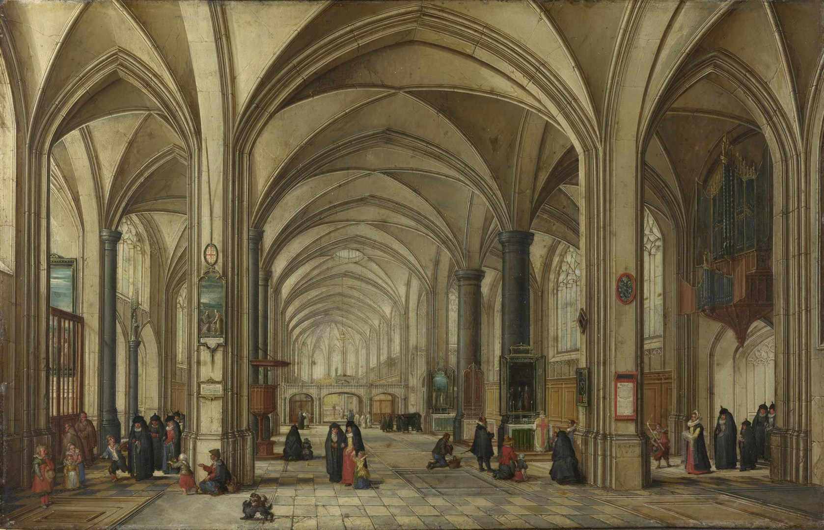 The Interior of a Gothic Church looking East by Hendrick van Steenwyck the Younger and Jan Brueghel the Elder