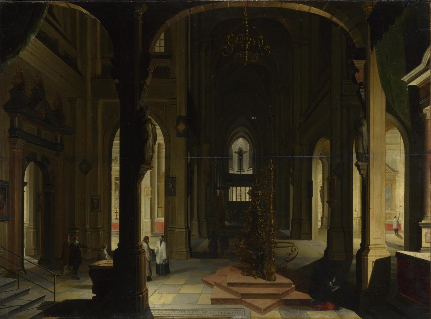 Interior of a Church at Night by Imitator of Hendrick van Steenwyck the Younger