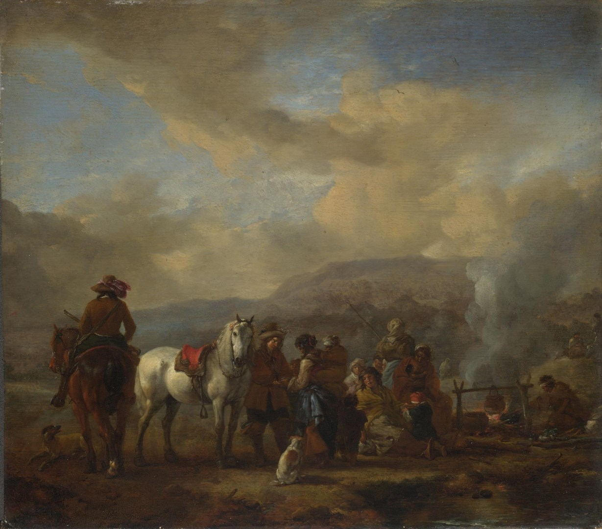 Two Horsemen at a Gipsy Encampment by Philips Wouwerman