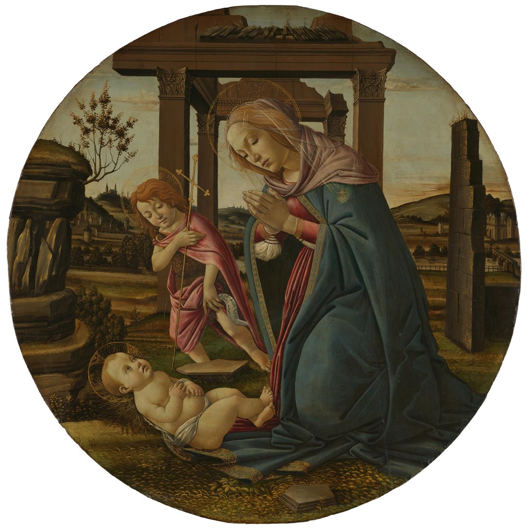 The Virgin and Child with Saint John the Baptist by Workshop of Sandro Botticelli