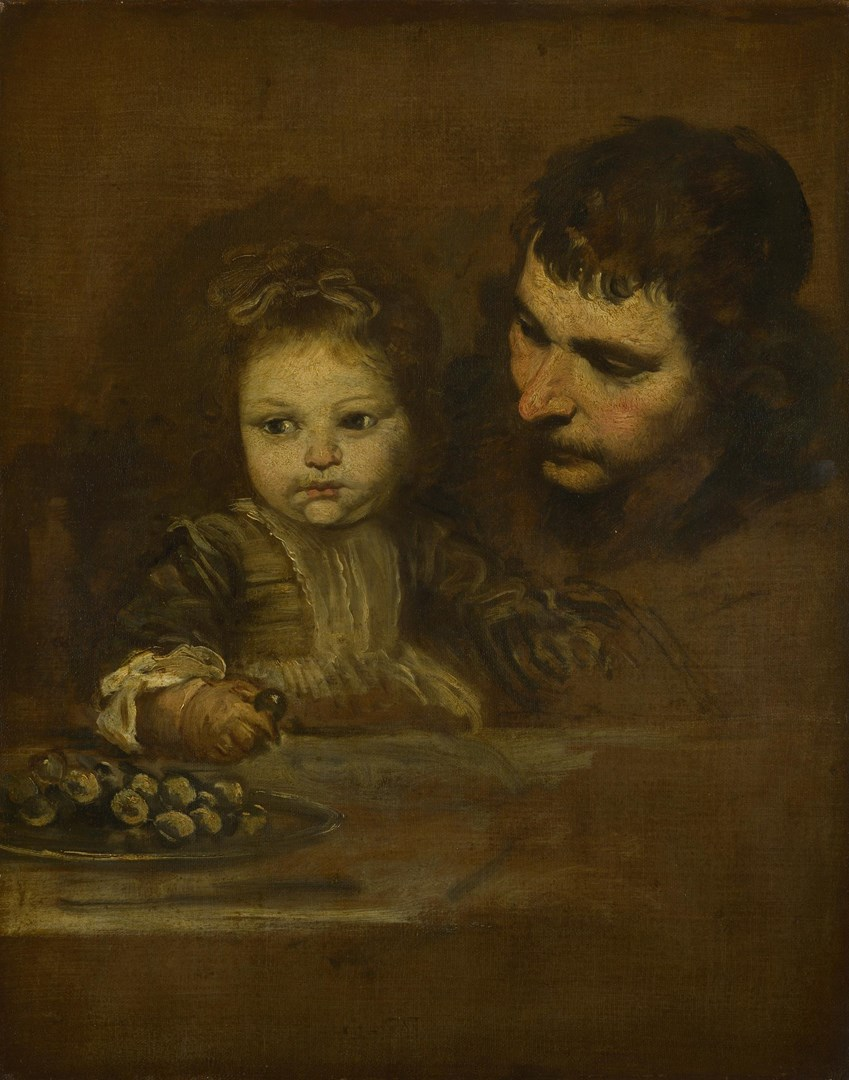 A Man and a Child eating Grapes by Spanish