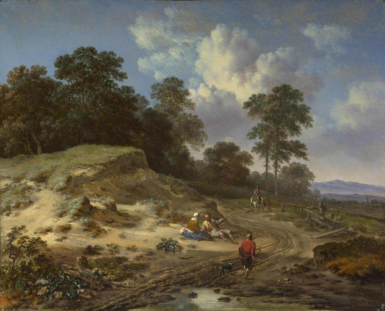 A Track by a Dune, with Peasants and a Horseman by Jan Wijnants