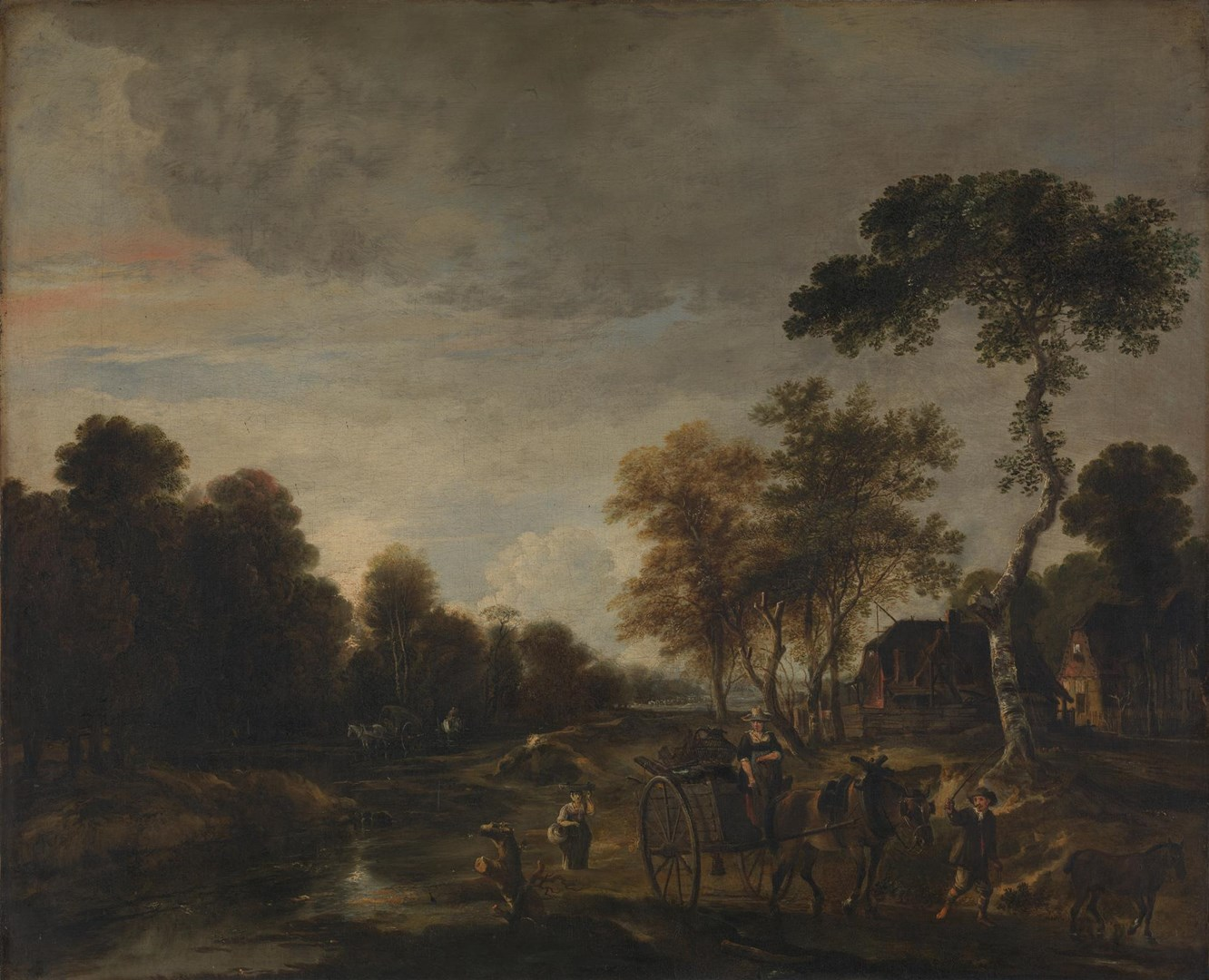 An Evening Landscape with a Horse and Cart by a Stream by Aert van der Neer