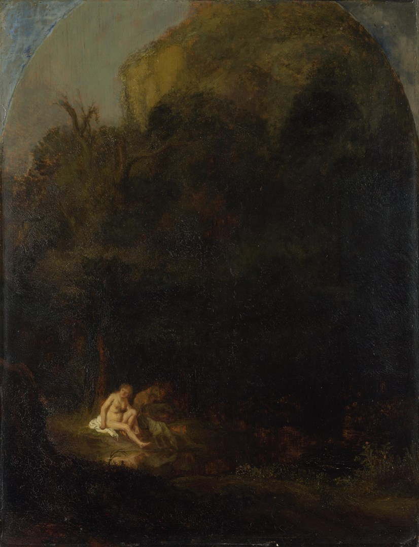 Diana bathing surprised by a Satyr by Follower of Rembrandt