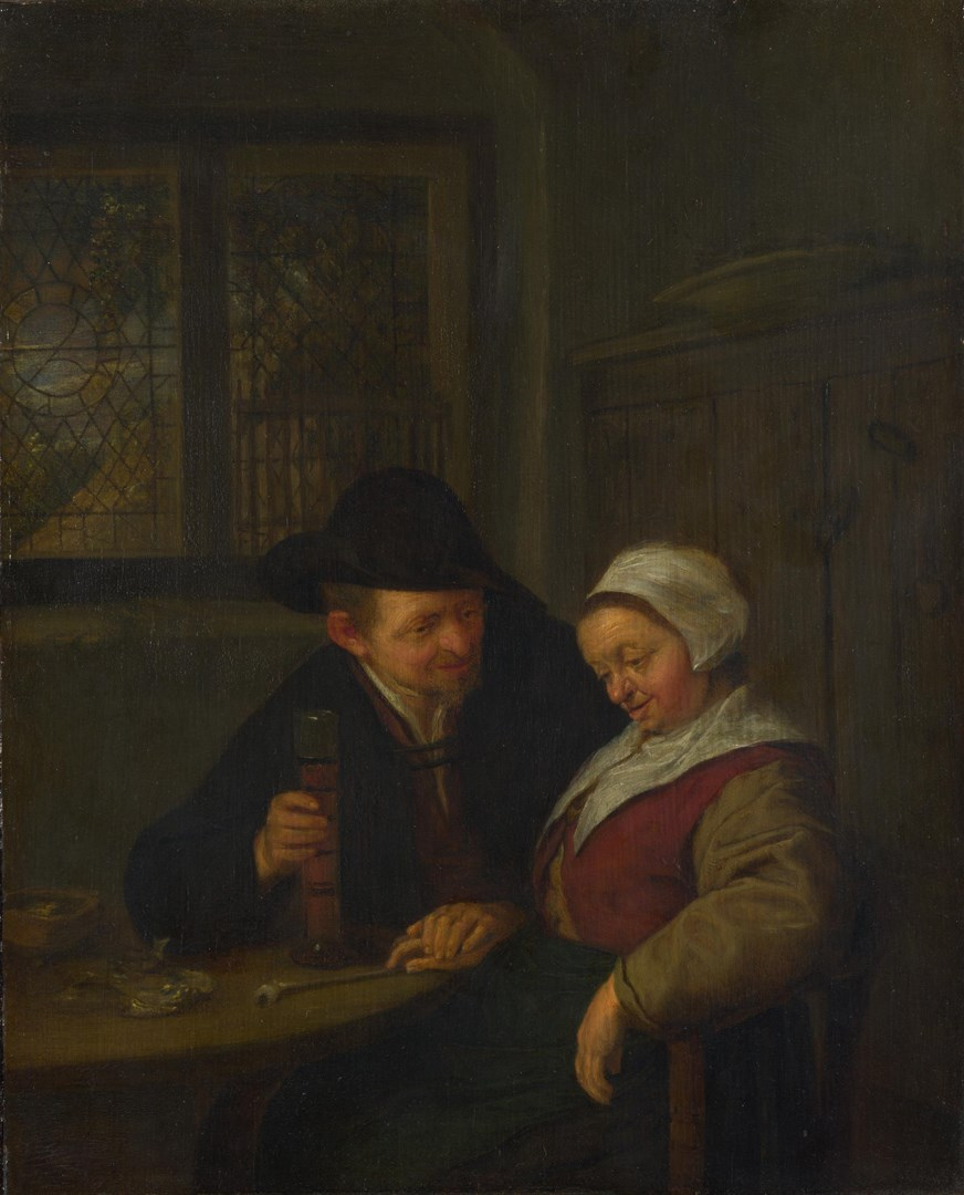 A Peasant courting an Elderly Woman by Adriaen van Ostade