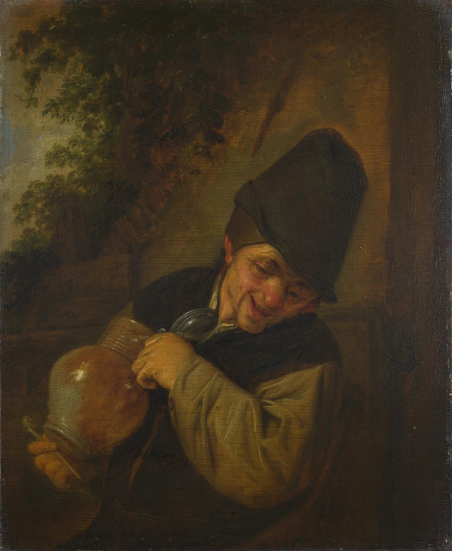A Peasant holding a Jug and a Pipe by Adriaen van Ostade