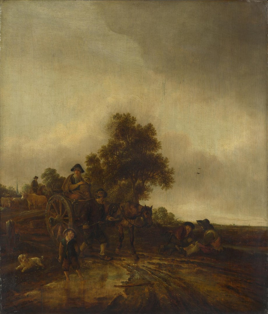 A Landscape with Peasants and a Cart by Isack van Ostade