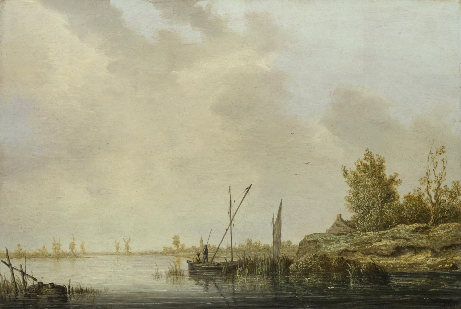 A River Scene with Distant Windmills by Aelbert Cuyp