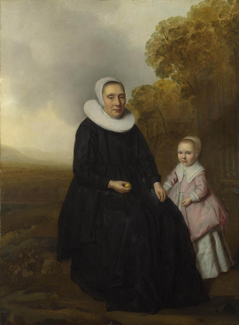 Portrait of a Seated Woman and a Girl in a Landscape by Dutch