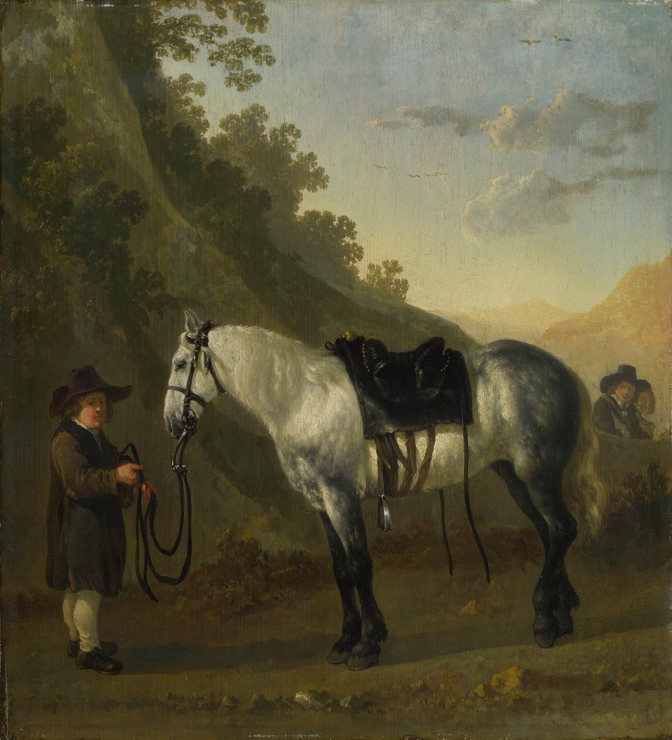 A Boy holding a Grey Horse by Probably by Abraham van Calraet