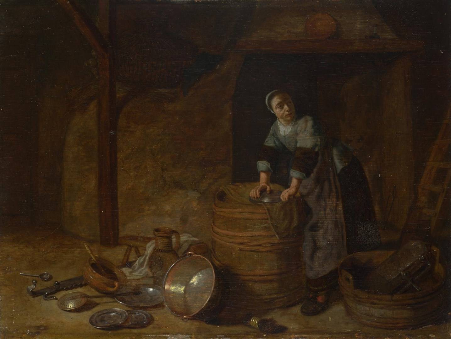 A Woman scouring a Pot by Possibly by Pieter van den Bosch