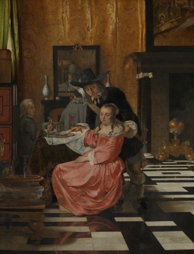 An Interior, with a Woman refusing a Glass of Wine by Possibly by Ludolf de Jongh